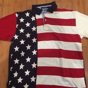 Tommy Hilfiger colorblock flag polo shirt medium